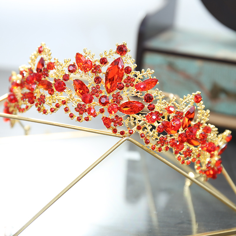 Luxury Red Rhinestone Bridal Tiara Crown Vintage Gold Baroque Crystal Diadem Tiaras for  ...