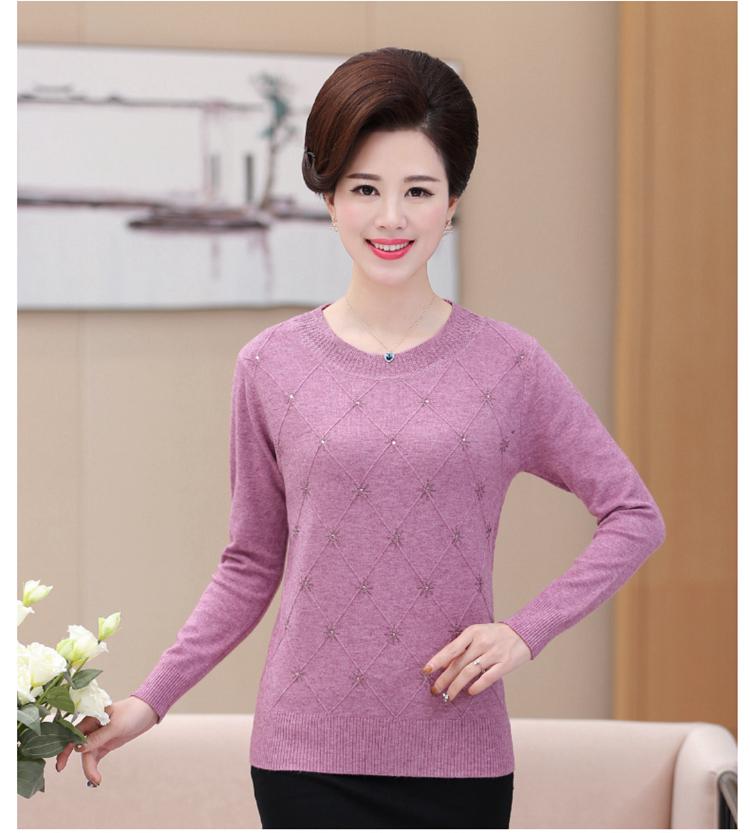 60bbf5778 Compre Novas Mulheres Idosas Camisola De Mangas Compridas Soltas Mãe  Carregados De Lã Outono Cardigan Suéter De Meia Idade De Baimu