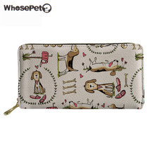 WHOSEPET Brand Designer Leather Wallet beagles Pet Dog Womens Purses and Wallets Travel Casual Long Coin Money Bag For Ladies