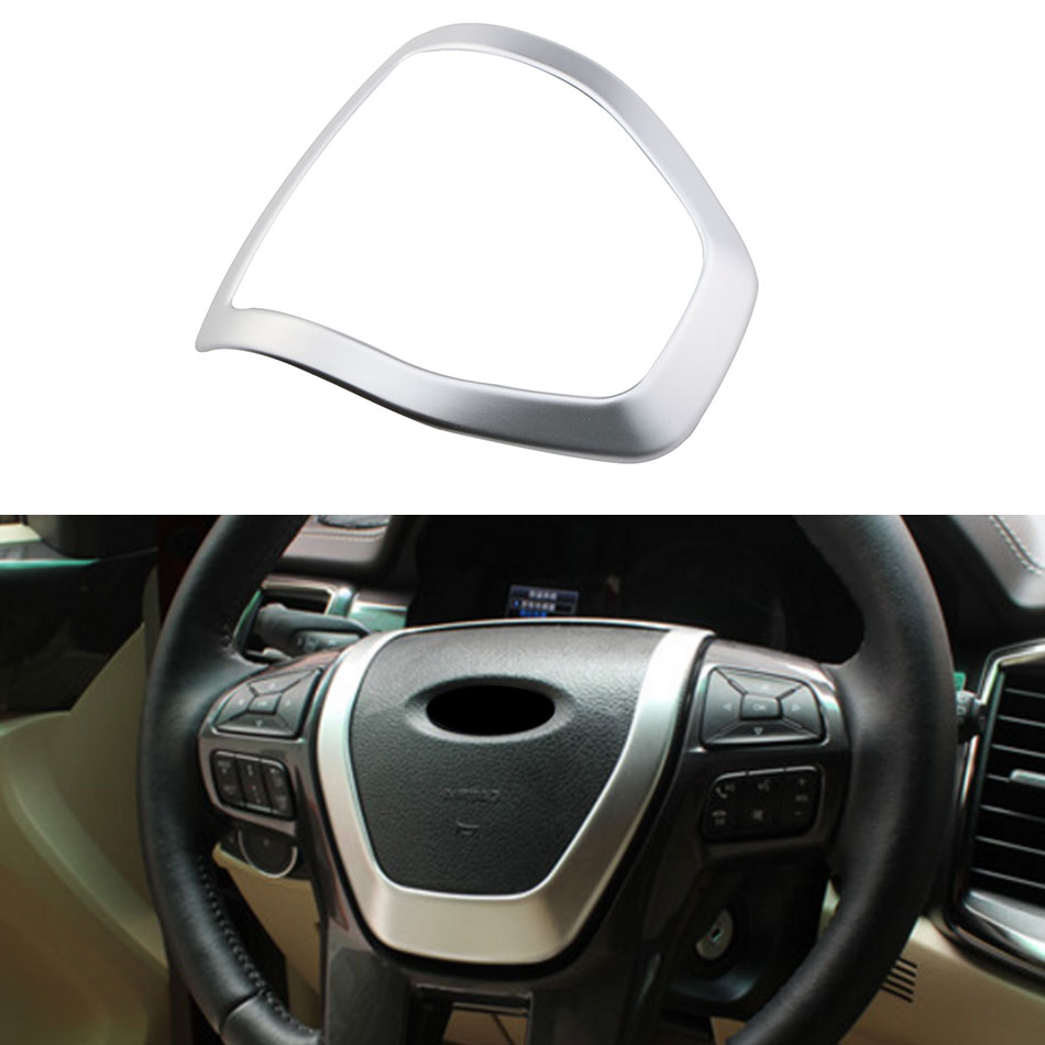 1pc abs chrome car steering wheel decoration cover trim sticker for ford everest explorer endeavour 2015