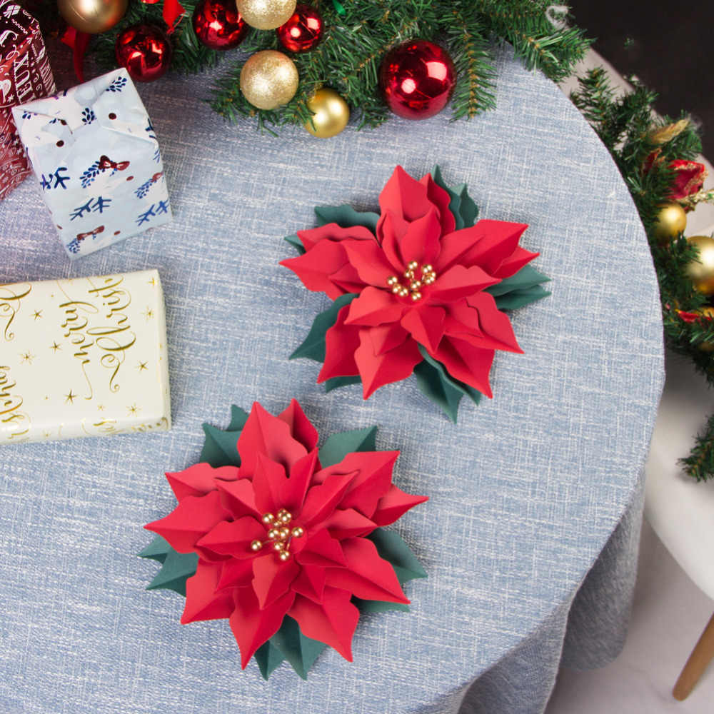 3pcs 3d Christmas Poinsettia Flowers Paper Flowers Christmas Tree Ornaments Table Centerpiece Wall Door Decoration Holiday Diy Party Diy Decorations Aliexpress