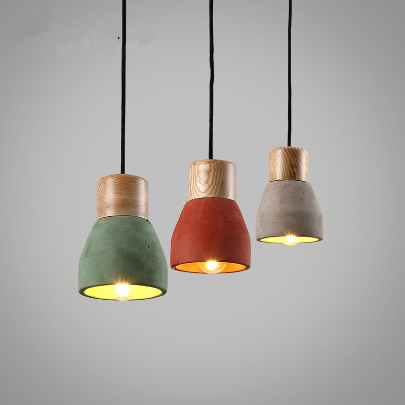 Nordic Design Modern Pendant Lamp Cement Wood Vintage