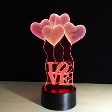 Lampa 3D LOVE Balony Illusion 7-Kolorów LED USB