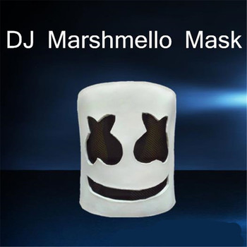 BOOCRE Cosplay Costume Accessories DJ Marshmello Mask Full Face Halloween Prop Latex Masks Headdress