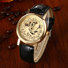 2016 Hot Sale Luxury Stainless Steel Skeleton Gold Watch Mens Imitate Mechanical PU Leather Analog Quartz Watch Wristwatches
