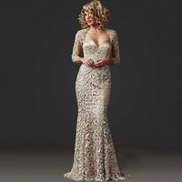 In Fashion Mother Of Bride Dress 2019 Lace Long Sleeve Mermaid Evening Beading With Jacket Formal Dress Plus Size