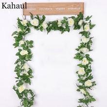 Искусственные шелковые розы цветок лоза декоративные поддельные