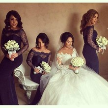 Dark Purple Bridesmaid Dresses 2017 Boat Neck Long Sleeves Lace Wedding Party Dresses Floor Length Maid of Honor Adult 8181441