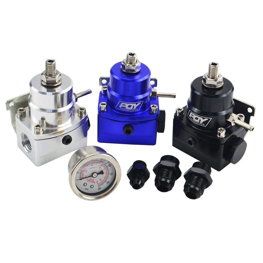 Image 2 - FREE SHIPPING   AN8 high EFI pressure fuel regulator w/ boost  8AN 8/8/6 PQY Fuel Pressure Regulator with gauge JR7855-in Oil Pressure Regulator from Automobiles & Motorcycles