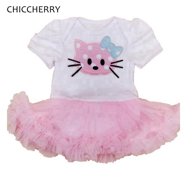 9bfcd35da394b Hello Kitty Applique Baby Girl Lace Tutu Summer Cotton Infant Bebe Romper  Dress Birthday Party Outfits Ropa Bebe Newborn Clothes-in Dresses from ...