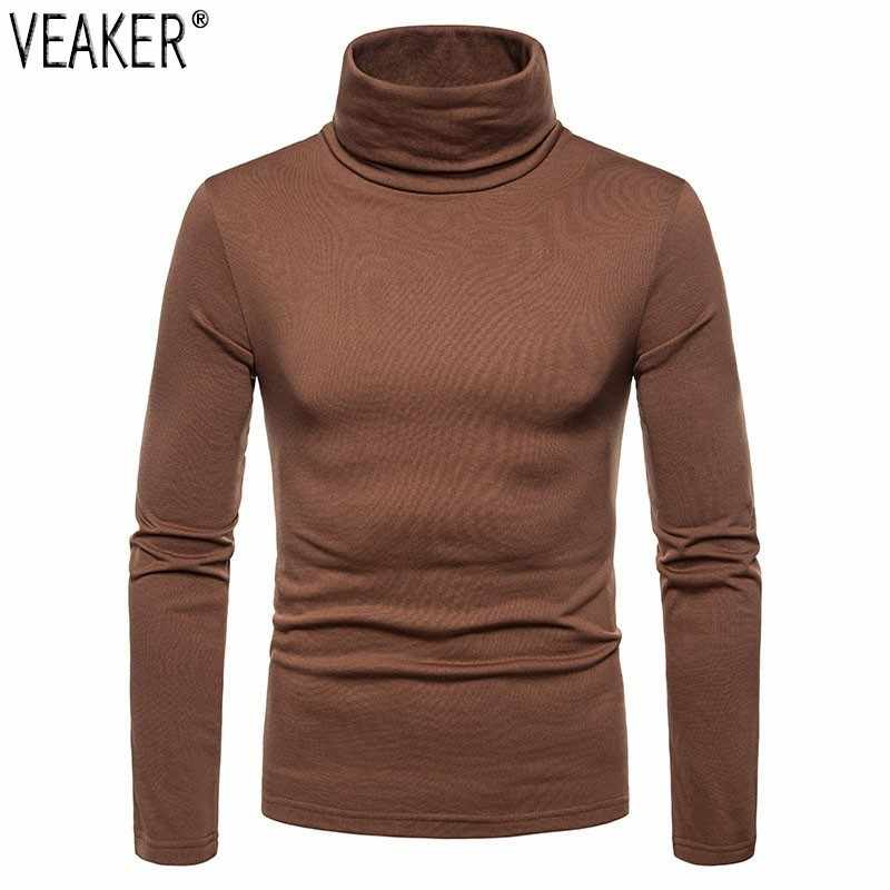 2019 Autumn New Men's Thin Fleece turtleneck t shirt slim fit High neck Long Sleeve T shirts Tops Solid Color casual Tops S-2XL