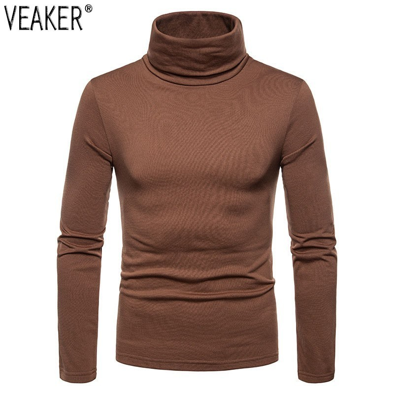 2018 Autumn New Men's Thin Fleece turtleneck   t     shirt   slim fit High neck Long Sleeve   T     shirts   Tops Solid Color casual Tops S-2XL