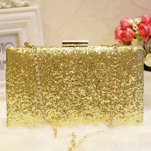 цены на Glitter Sequins Nude Evening Bag Black Clutch Evening Bag Luxury Silver Metal Envelope Clutch Bag Box Golden Chain Shoulder Bag  в интернет-магазинах