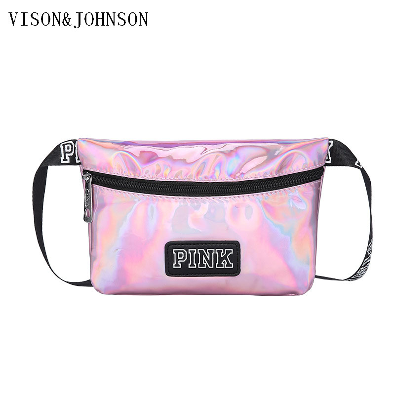 Pink Laser Holographic Waterproof Rainbow Fanny Pack Waist Festival Bag,Belt Bag,Bum Bag,Hip Bag+Hip Pouch Burning Women Purses