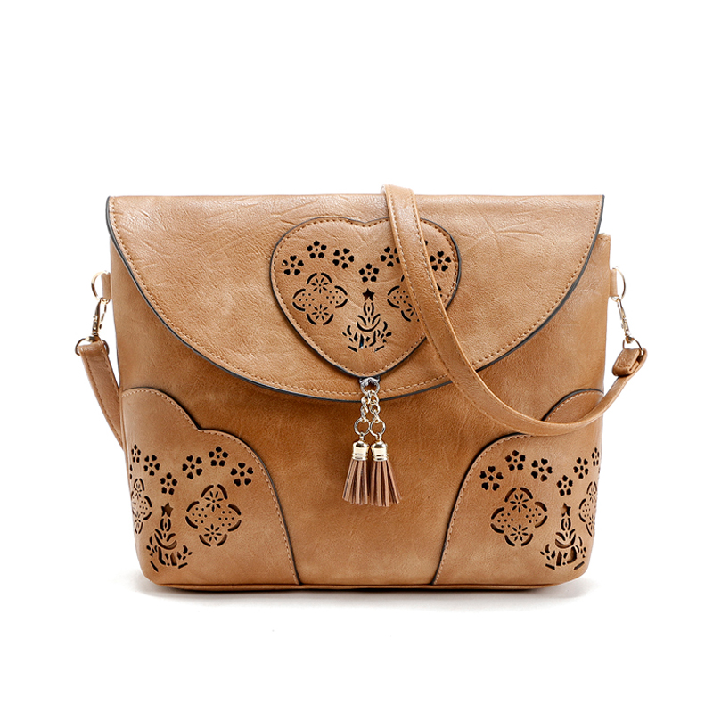 Vintage Casual Women Bag Hollow Out Crossbody Bags PU Leather Small Shoulder Bag