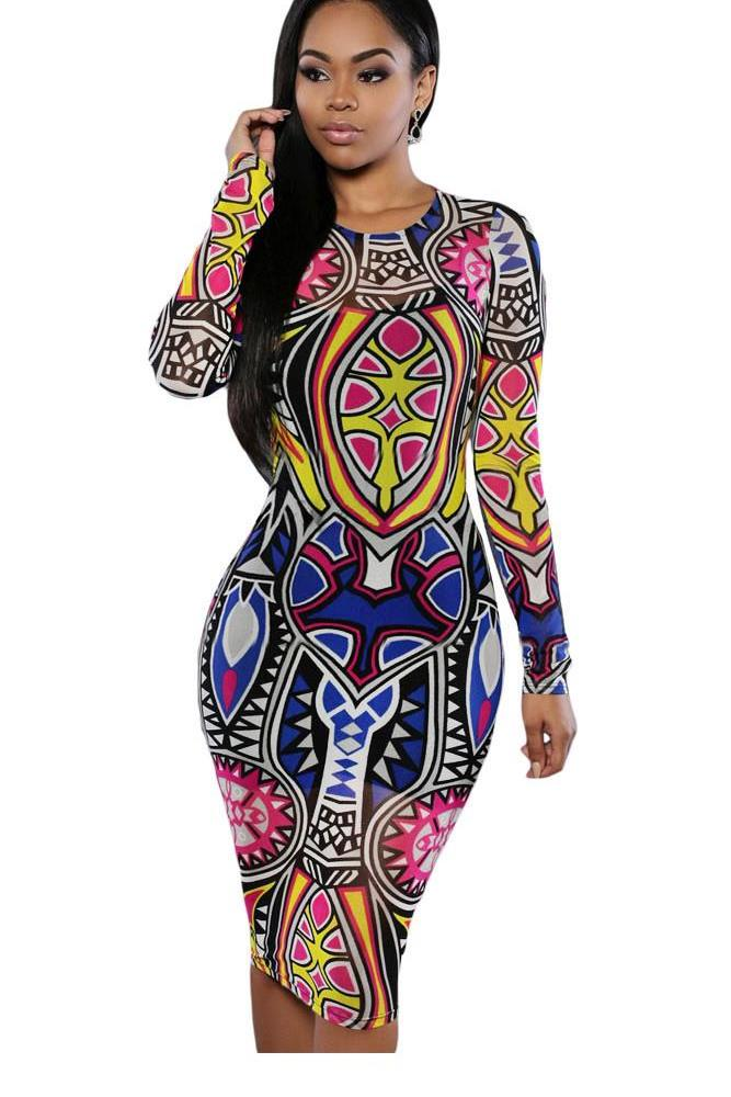 Dearlove Bodycon Dress 2017 Fashion Sring Autumn Style One Piece Casual Clothing Tribal Print