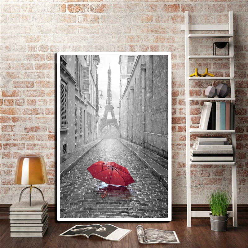 Black and White Eiffel Tower in Paris with Red Umbrella Poster Prints Home Décor