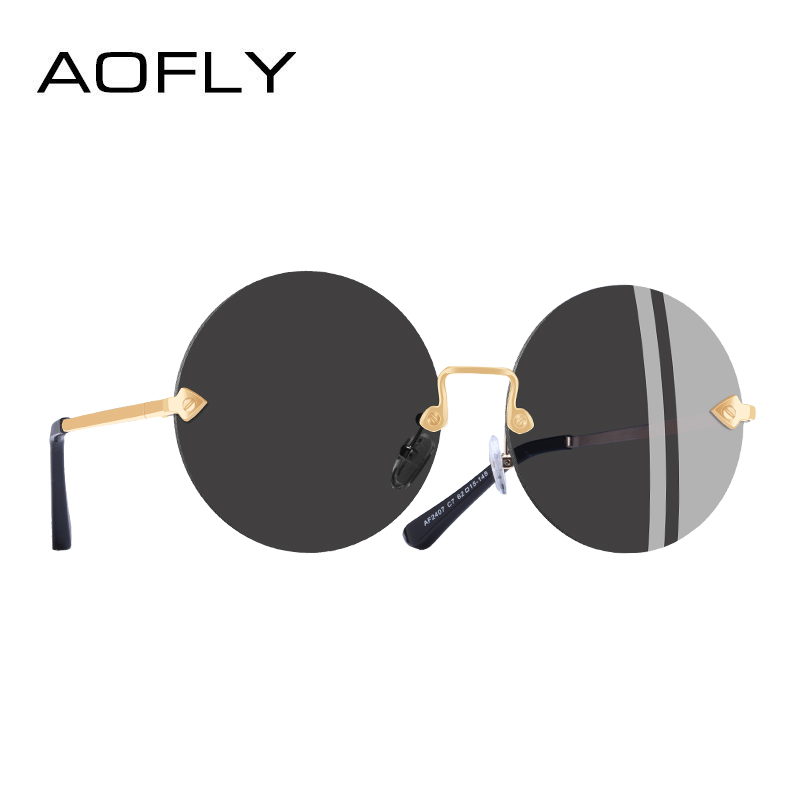960cdff937c AOFLY BRAND DESIGN Round Frameless Sunglasses Women Retro Vintage Mirror Sunglasses  Eyewear Lenses UV400 A2407