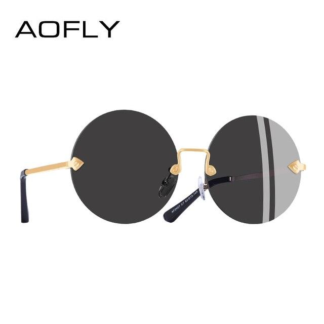 40aa6340b6 AOFLY marca diseño redondo sin marco gafas de sol de las mujeres Retro  Vintage espejo gafas