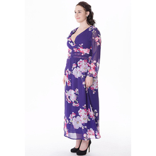2018 Casual Spring Autumn Women Chiffon Dress V Neck Long Sleeve Floral Dress Plus Size 6XL Long Maxi Beach Dress vestidos mujer