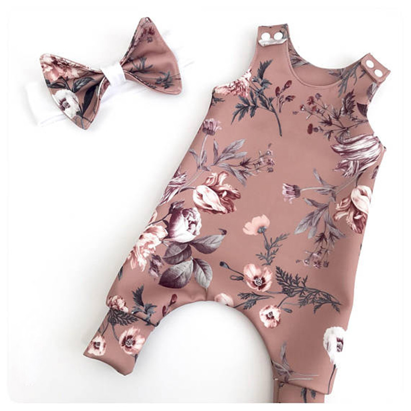 0-2T Summer Newborn Baby Girls Clothes Sleeveless Floral Romper Cute Sweet Jumpsuit casual Outfits flower infantil newborn baby girls watermelon clothes kids summer casual sleeveless red romper jumpsuit outfits playsuit 0 24m