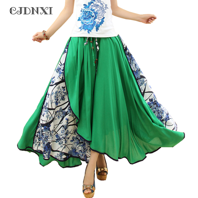 cecaf29d28 CJDNXI Women Summer Maxi Long Skirt High Waist Pleated Green Floral Print  Split Skirts Patchwork Jupe Longue Asymmetric Saia New