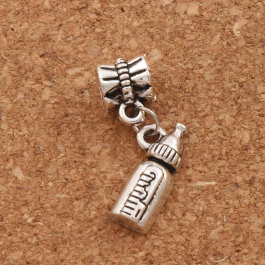 Milk Bottle Big Hole Beads 27.2x7.7mm 20pcs Antique Silver Dangle Fit European Charm Bracelets Jewelry DIY B404