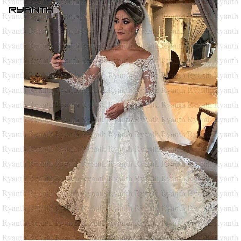 Cheap A Line Vestido de noiva 2019 Custom Made Long Sleeves Lace Mermaid Wedding Dress Zipper