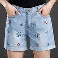 PLUS SIZE 5XL Women Shorts Jeans 2017 New Brand Fashion Print Short Trousers Spring Summer Elastic-Waist Lady Jean