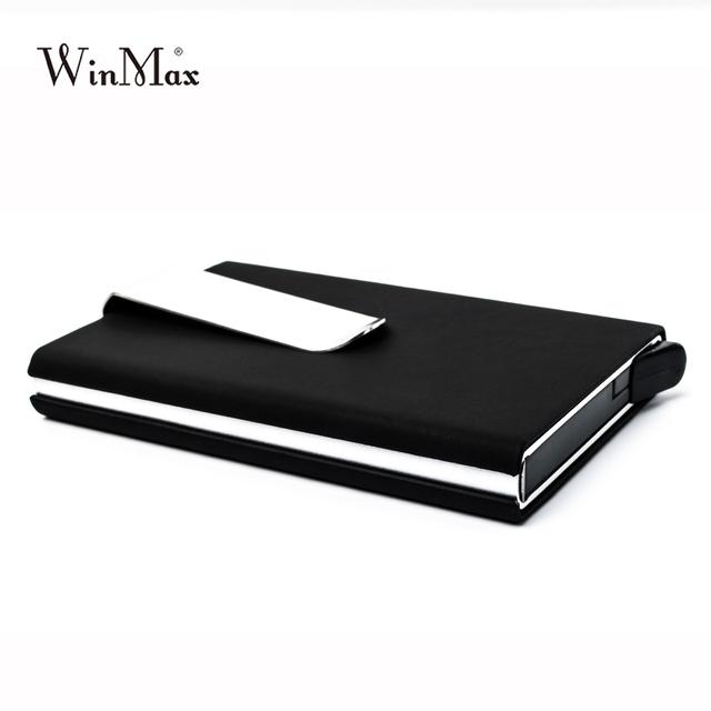 Winmax Brand Black Quality Credit Card Holder Waterproof Cash Money Pocket Box Aluminum Business Men ID Card Holder Gift Wallets