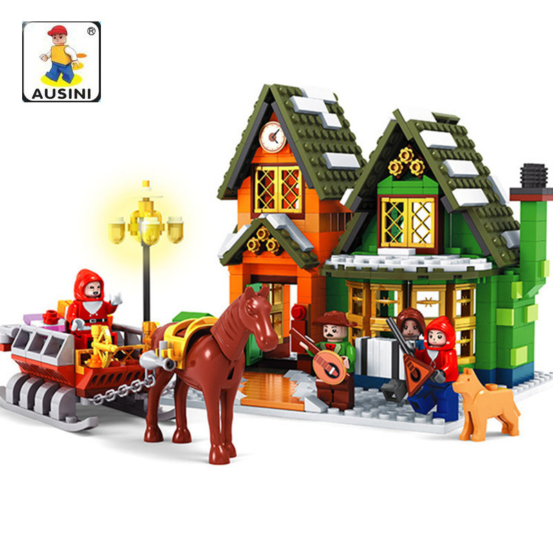 Ausini 860Pcs Alanwhale Winter Village Post Office City Advent Calendar Christmas Santa's Workshop Bricks Toys brinquedos