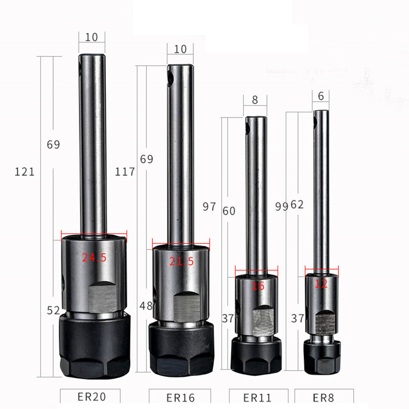 Multi Axis Output Shaft C6 ER8 C8 ER11 C10 ER16 C10 ER20 Spindle Shaft Multitool Machine Parts For Tapping Drilling Machine