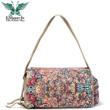 Black Butterfly original design ethnic style Women Shoulder Bag Bohemian Printing Tote female Messenger handbag