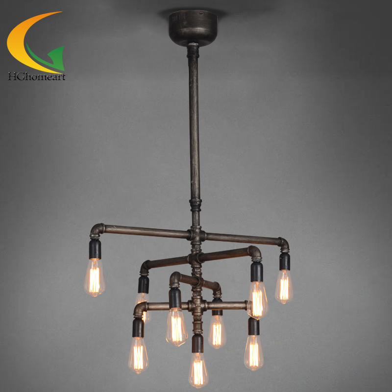 American minimalist style living room bedroom lamp creative restaurant industry iron pipes 9 Edison retro chandelier цена и фото