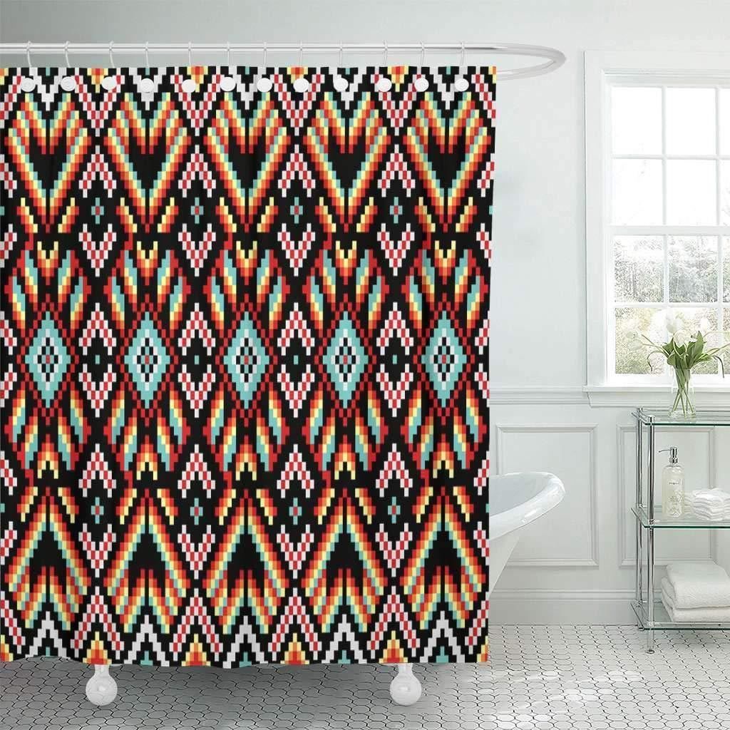 Fabric Shower Curtain Hooks Tribal Trendy Contemporary