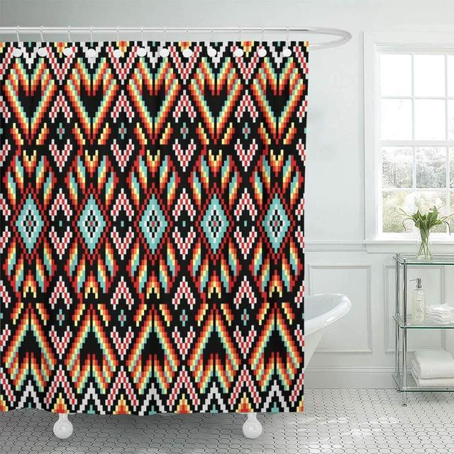 Fabric Shower Curtain Hooks Tribal Trendy Contemporary Ethnic Cross Squares Diamonds Chevrons Aztec Batik Bead Boho