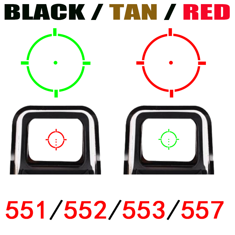 Tactical 552/551/553/557/558 Vista Holográfica Red Dot Óptica Colimador Red & Green light com 20mm Rail Mounts Vermelho/Preto/Tan