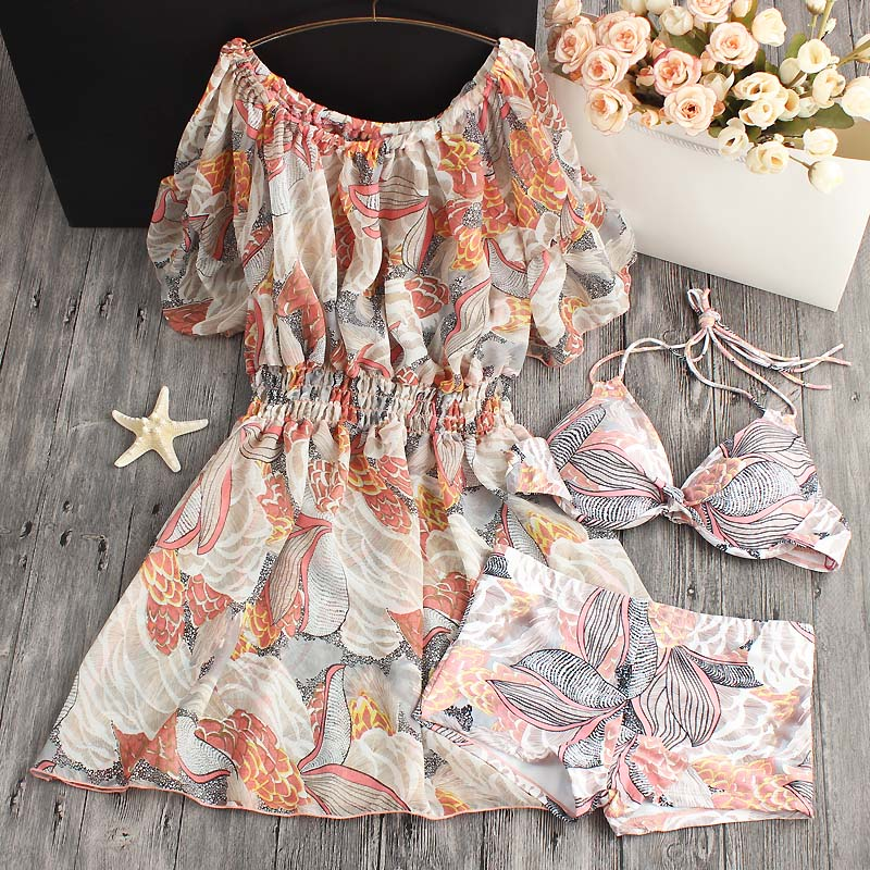 2018 New Female Swimsuit Three Piece South Korea Real Sexy Hot Spring Small Chest Chiffon Blouse Gather Bikinis