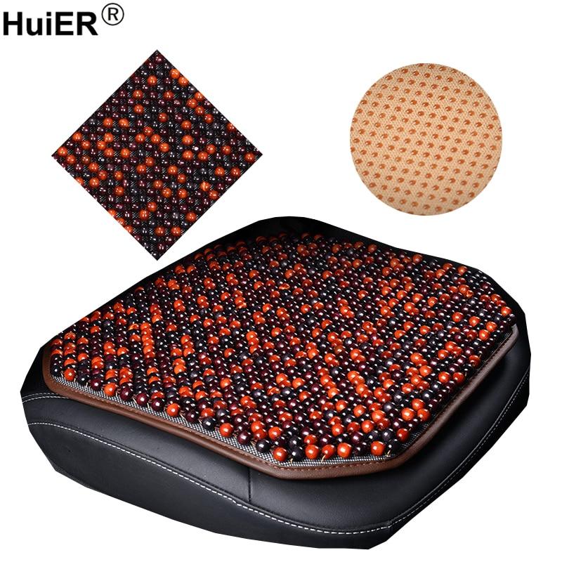 HuiER perles en bois naturel pur coussins de siège de voiture Massage anti-dérapant respirant housses de siège de voiture tapis de siège style de voiture livraison gratuite
