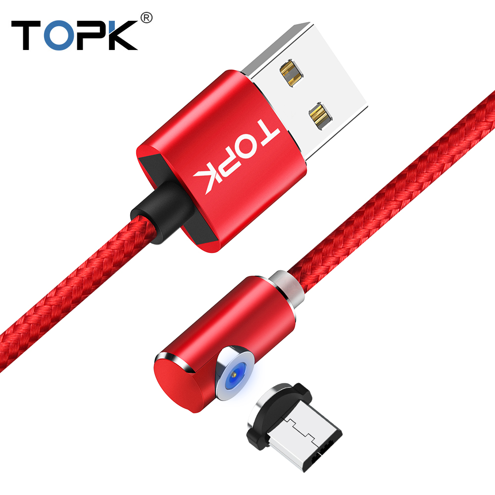 TOPK L-TYPE LED Magnetic USB Cable 2.4A Fast Charging Micro USB Cable for Samsung Xiaomi Huawei Mobile Phone Charging Cable