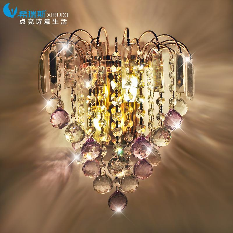 ФОТО LED gold crystal lamp room bedroom bedside lamp 6057 corridor wall decoration