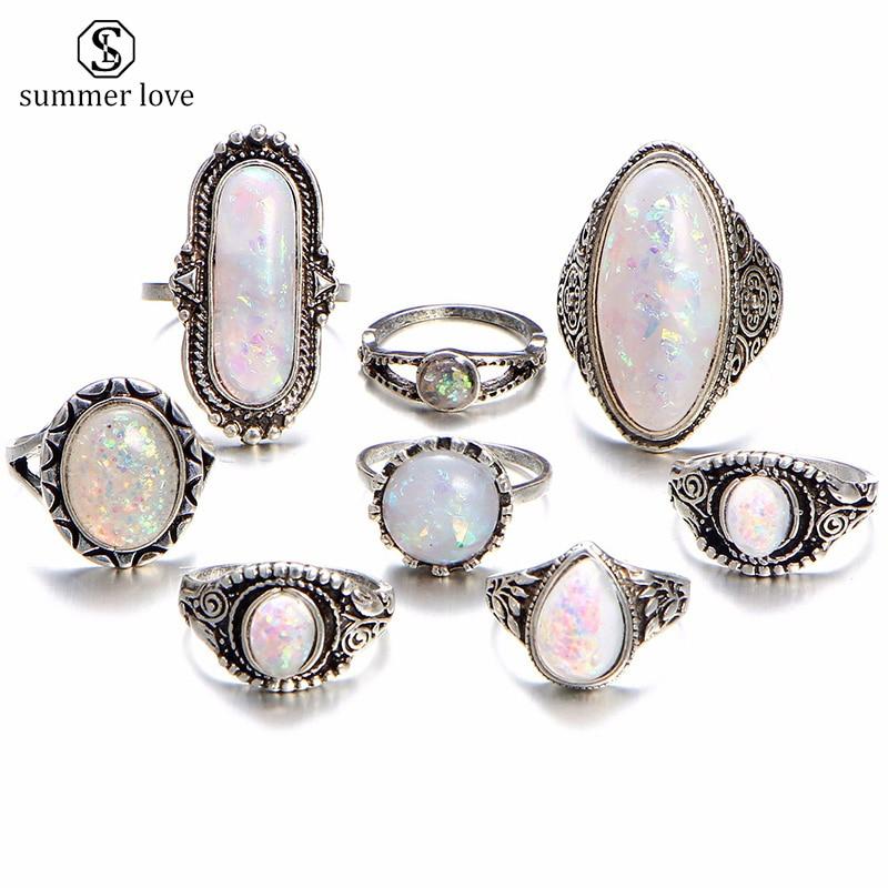 Summer Love 8pcs/Lot Charm Gold Color Midi Finger Ring Set V