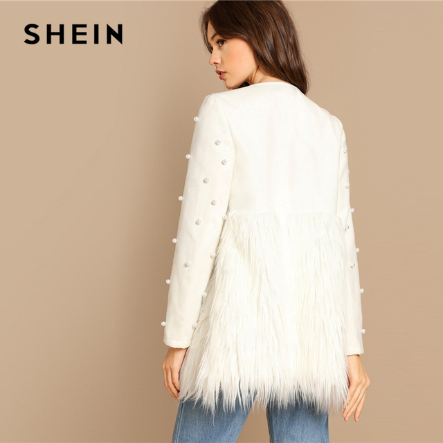 SHEIN Office Lady Solid Pearl Embellished Faux Fur Round Neck Jacket Autumn Workwear Casual Women Coat And Outerwear 4