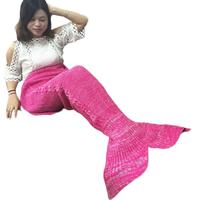 New Qualified 2017 Hot Selling  Knitted Mermaid Tail Blanket Handmade Crochet Throw Bed Wrap Sleeping Bag Dropship  D23Au29