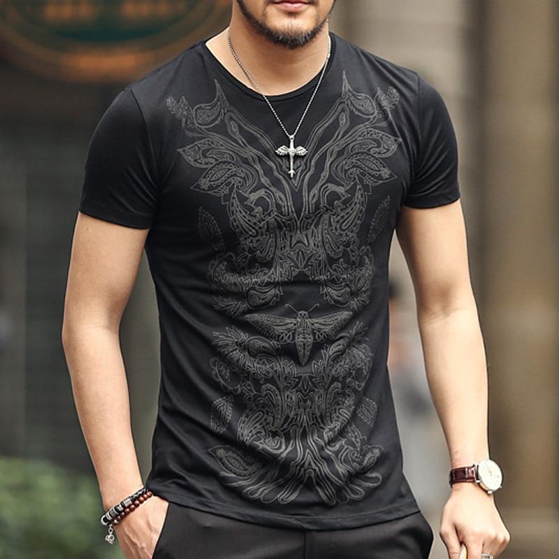 Hot Mens Skull Print Short T top Fashion Personality Casual Slim Short-Sleeved Shirt Shirt