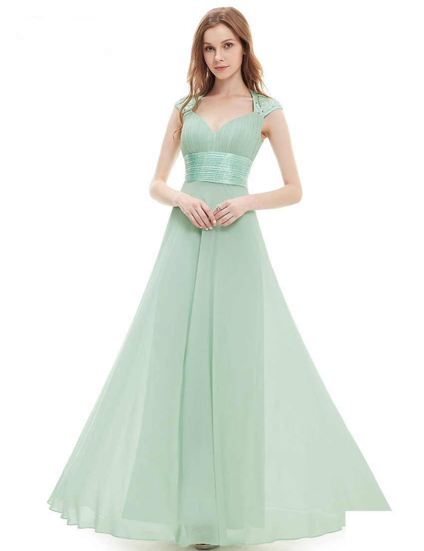 Wedding Sage Green Dress popular sage color dresses buy cheap lots from 2015 elegant cap sleeve bridesmaid sweetheart sleeveless floor length chiffon prom gowns