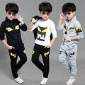 Мальчики верхняя Одежда устанавливает Детской одежды Детей три шт набор Пиджак + Брюки + футболки костюм ropa mujer roupas infantis menino