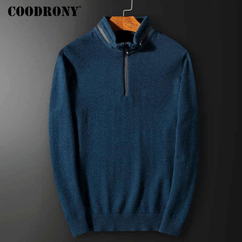 COODRONY Mens Zipper Sweater Pull Homme Stand-up Collar Cashmere Sweaters For 2018 Winter Thick Warm Merino Wool Pullover Men 47