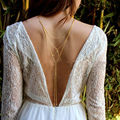 Simple Design Multi-Layer Tassel Cross Chain with Crystal Back Necklace for Women Girl Body Chain Jewelry Accessories