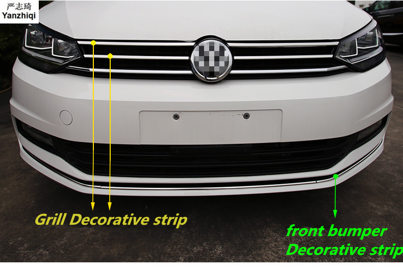 Stainless steel Grill Decorative strip front bumper Decorative Sequins Car Styling for VW Volkswagen 2016 2018 Touran